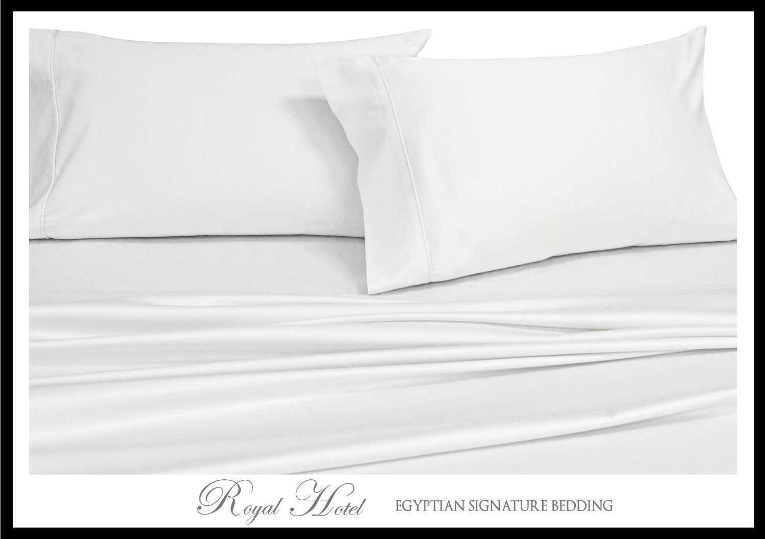 Solid White Top-Split-King: Adjustable King Bed Size Sheets, 4PC Bed Sheet Set, 100% Cotton, 300 Thread Count, Sateen Solid, Deep Pocket, by Royal Hotel