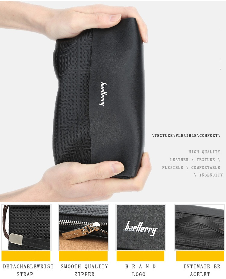 Baellerry 2019 New Style Large capacity Multi-function Leather Clutch Wallet For Men With Handle Strap,Male Long Cell Phone Bag