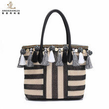 New Arrival PP Straw Material Ladies shoulder Bag Alibaba Wholesale Women Handbags