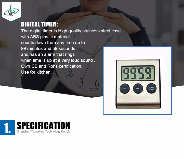 Stainless Steel Materia Countdown Timer in ABS Plastic magnetic digital kitchen timer