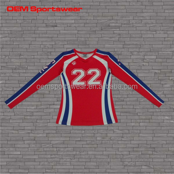 Long sleeve red blue sublimation volleyball jerseys professional