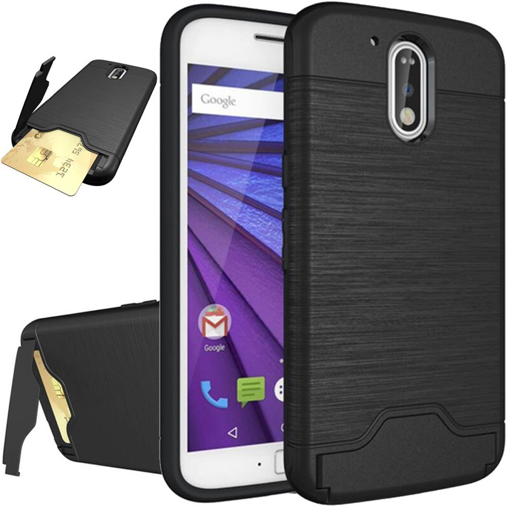 Moto G4 Plus Case,Moto G4 Plus Cover,Flidm Flipcase Moto G4 Plus Protective Card Slot Holder Hybrid Cover with Kickstand for Motorola Moto G Plus (4th Gen)-Black