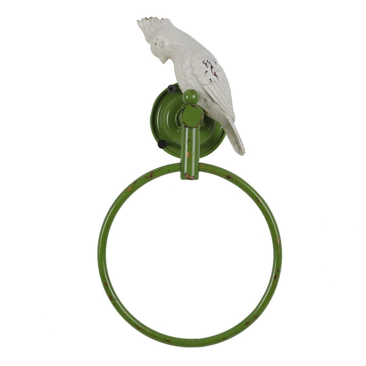 Vintage Parrot Metal Bird Wall Mount Towel Ring Holder,Green White