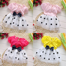 Toddler Baby Girls Tutu Princess Dress Party Bowknot Dot Tulle Dress 0 4Y