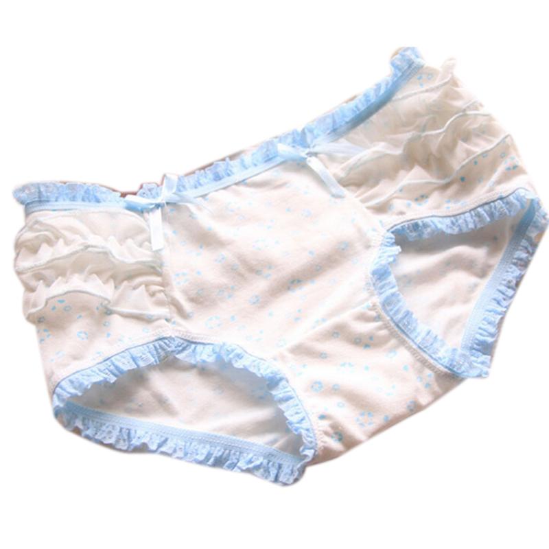 5831878d5ead Get Quotations · Female Panties Underwear Mid Waist Big Buttocks Two  Flounce Bowknot Womens Briefs Sexy Women Lace Pants