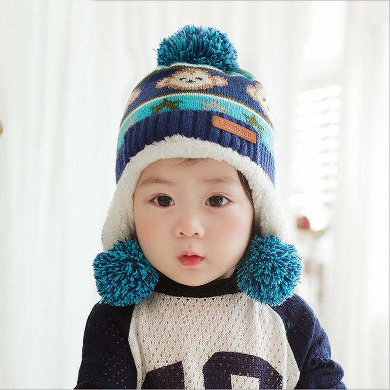 2015 Autumn Winter Cute Cartoon Monkey Warm Children Knitted Hat Baby Boy Girls Double Ball Earmuffs Bomber Hats