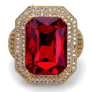 HipHop 18k gold Muslim ruby ring designs for men, CZ diamond ruby ring