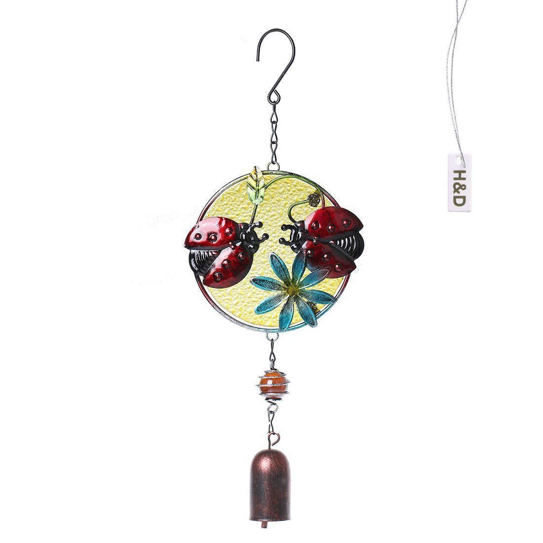 H&D Special Design Two Ladybug Garden Yard Metal Outdoor Living Wind Chimes Handcrafts Home Decoration