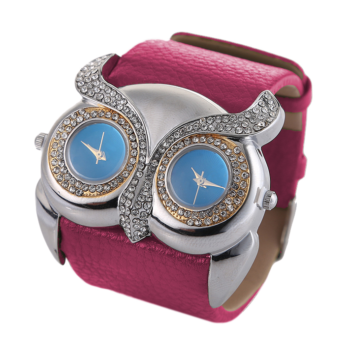 Watch Owl 2015 Double Dial Animal Owl Watches Wide Leather Band Watches Women Watch for Teen Girls