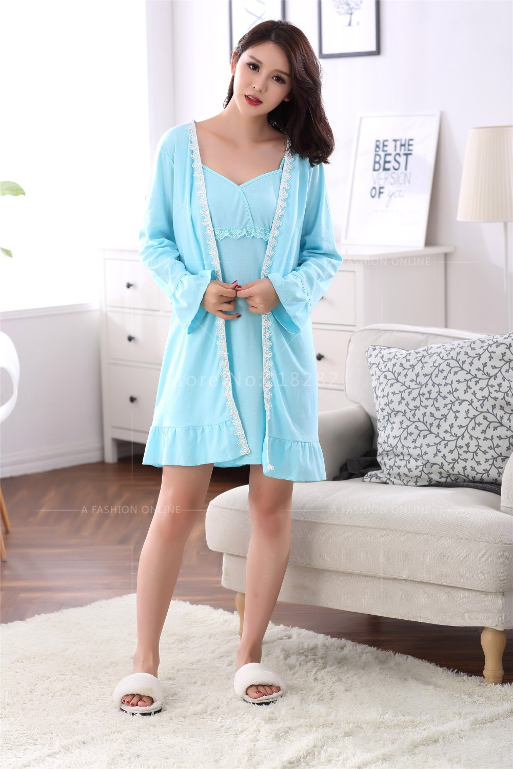 Spring Autumn Cotton Women Long Sleeved Dress Robes Lace Matured ... 08bcb2bfb