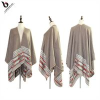 Wholesale Cashmere 2017 Winter Stripe Wool Custom Mexican Poncho For Woman