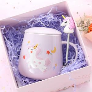 400ml cartoon ceramic coffee water mug unicorn pink gift box for girl
