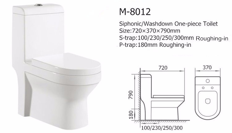 Siphonic ceramic one piece white porcelain toilet