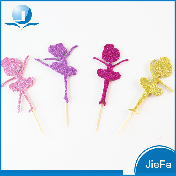 Safety Paper Fashion Glitter Ballerina Cupcake Toppers