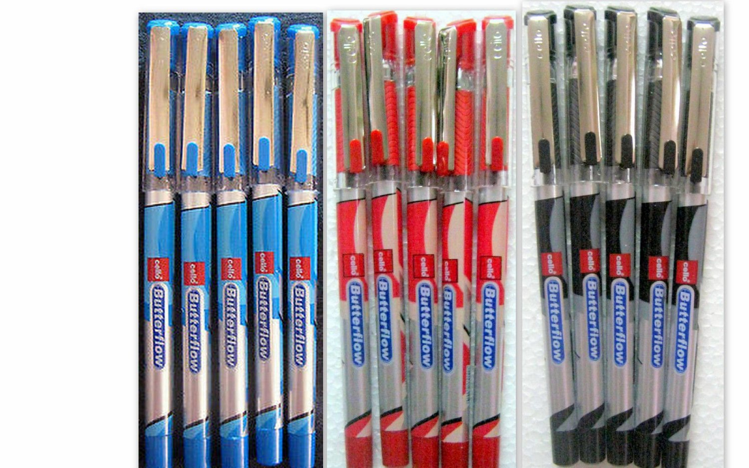 Set of 15 Cello Butterflow Blue, Red & Black Ball Pen - Brand New - India