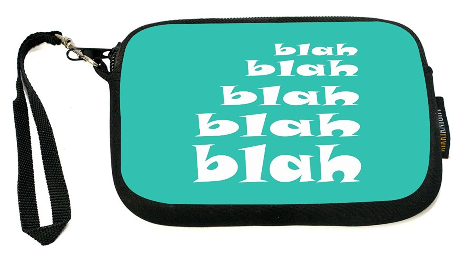 Rikki Knight Blah Blah Light Pink - Neoprene Clutch Wristlet with Safety Closure - Ideal case for Camera, Cell Phone, Gameboy, Passport, Cosmetics case, Universal Cell Phone Case etc..
