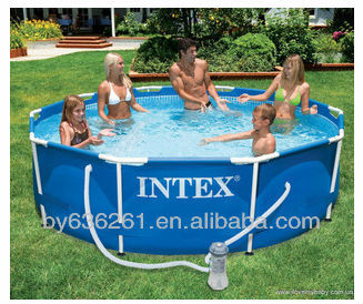 Family Size Above Ground PVC Intex Round Metal Frame Plastic Swimming Pools