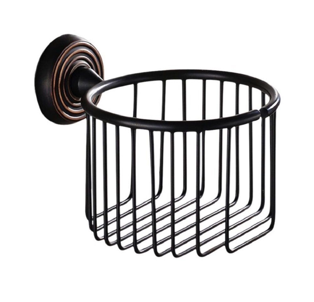 Retro Style Paper Towel Baskets, Bathroom Round Drawers Toilet Tissue Boxes, Rugged Copper Toilet Paper Holder, Plated Black