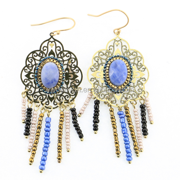 Moroccan Chic Filigree Lapis Stone Earrings With Seed Bead Tassels