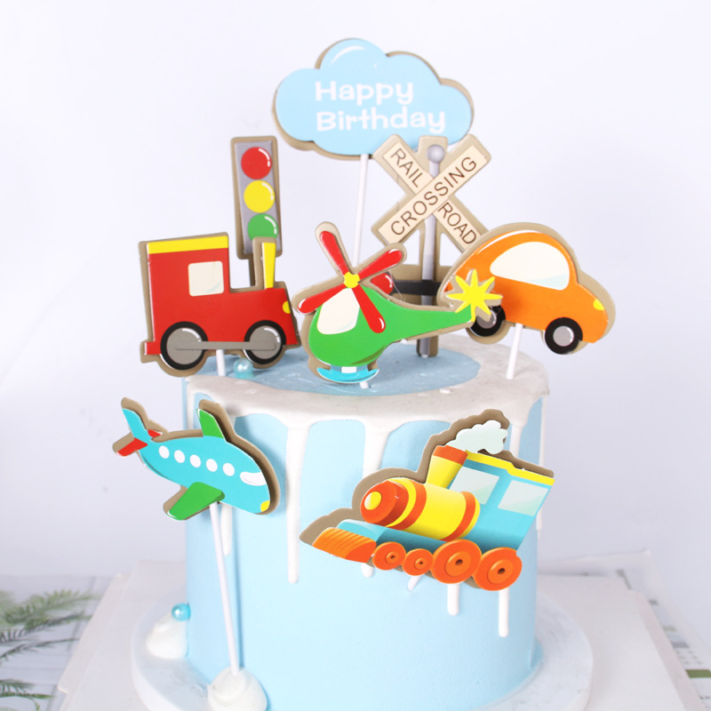 Transporation Veichle Car Cake Decoration Insert Card Happy Easter Cake Decorating Tools Topper Stand Insert Dessert Card Flag
