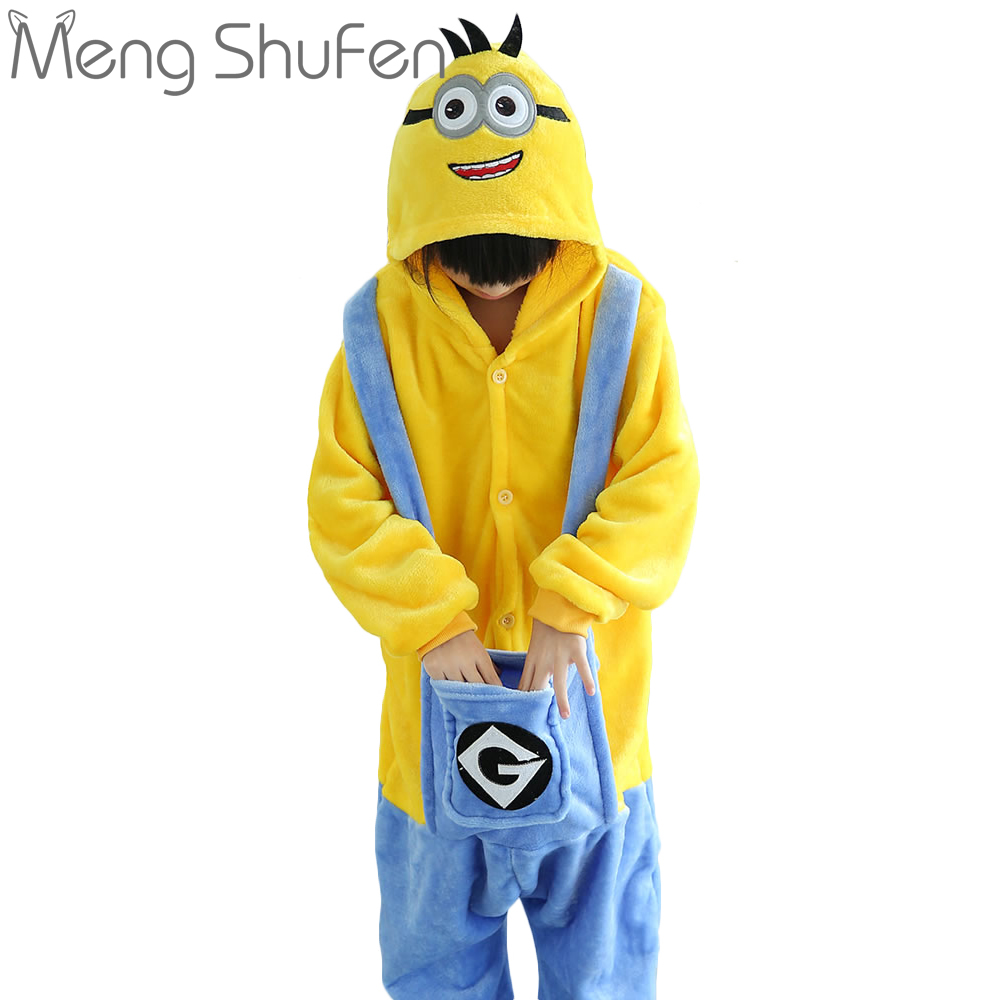 wholesale children winter pajamas kids panda onesie pajamas Minions Cosplay Flannel Hooded Sets Party Costume