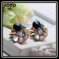 Women's Fashion Earrings Gorgeous New Arrival Brand Sweet Metal With Gems Stud Crystal Earring For Women Girls