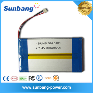 2S1P rechargeable 7.4v battery 7.4v 3850mah li ion battery pack for Ebook /Ereading book