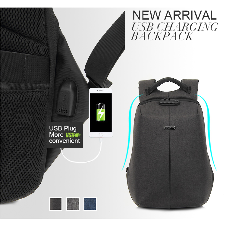 Kingslong Reflective line waterproof anti theft bag Design Grey business Backpack With USB Charging Port