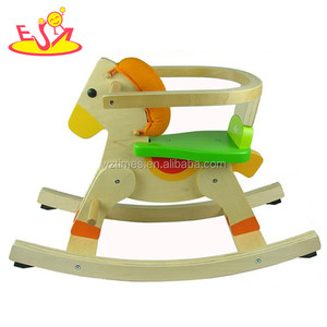 Wholesale interesting wooden rocking horse toy have a backrest for baby W16D035