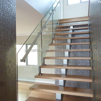 Customized Staircase Design Glass Railing Wooden Steps Marble