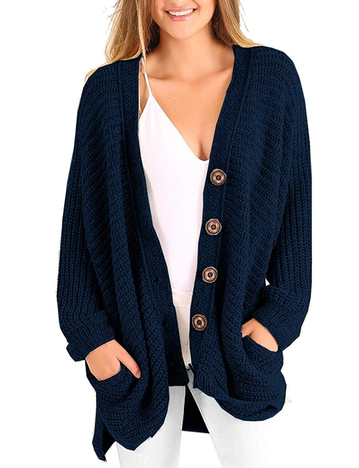 2fca95bce11f33 Get Quotations · Inorin Womens Plus Size Cardigan Boyfriend Open Front  Button Down Knit Cardigan Sweaters with Pockets