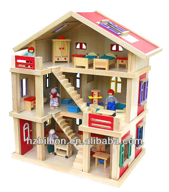 1/12 hardwood doll house with furniture