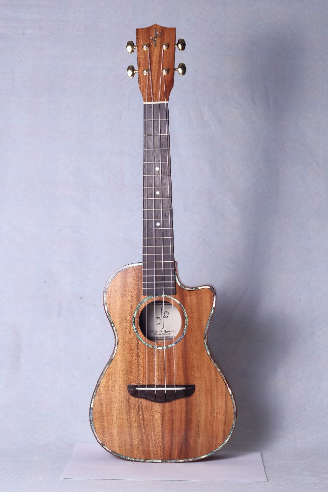 Tenor ukulele cut way, solid koa tenor ukulele, deluxe abalone binding