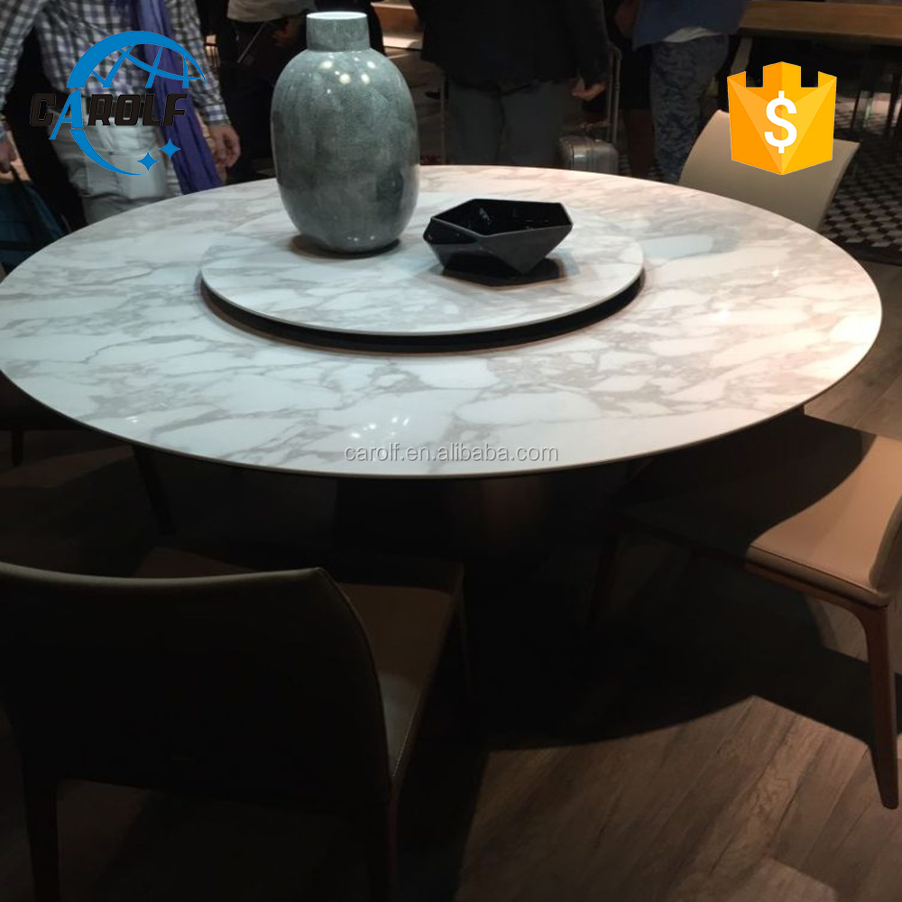Beau 8 Seater Marble Round Dining Table With Lazy Susan