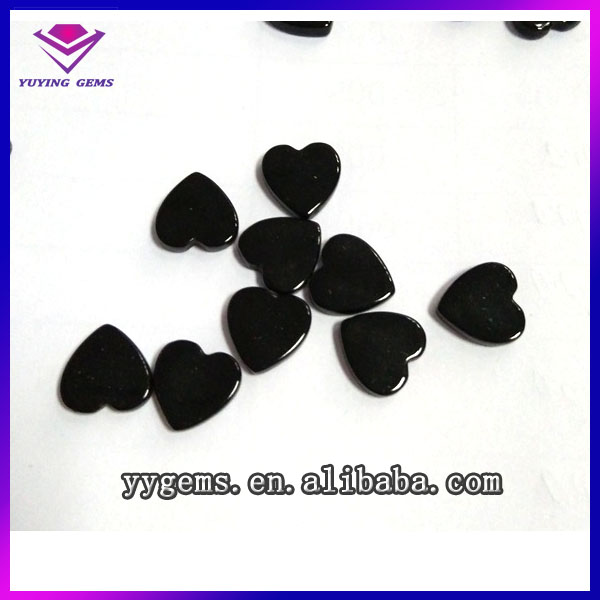 Love heart shape Cabochon cut black onyx stone