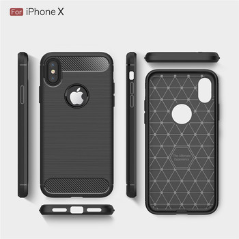 Hotsell Business Carbon Fiber Soft TPU Anti-fingerprints Brushed Phone Case for iPhone X