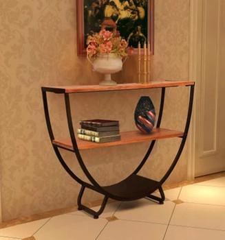 eisen holz konsolentisch halb runde tisch regal massivholz regale display racks holz clapboard. Black Bedroom Furniture Sets. Home Design Ideas