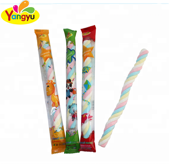 Halal groothandel lang Twist Marshmallow Sticks Candy / Cotton snoepjes
