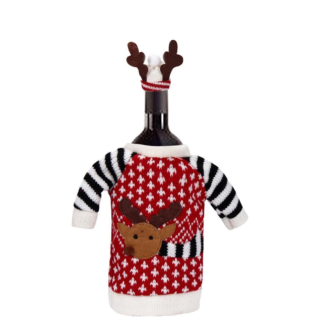 Bestpriceam New Christmas EIK Christmas EIK Red Wine Bottle Knit Cover Bags Decoration Home Party Santa Claus Christmas
