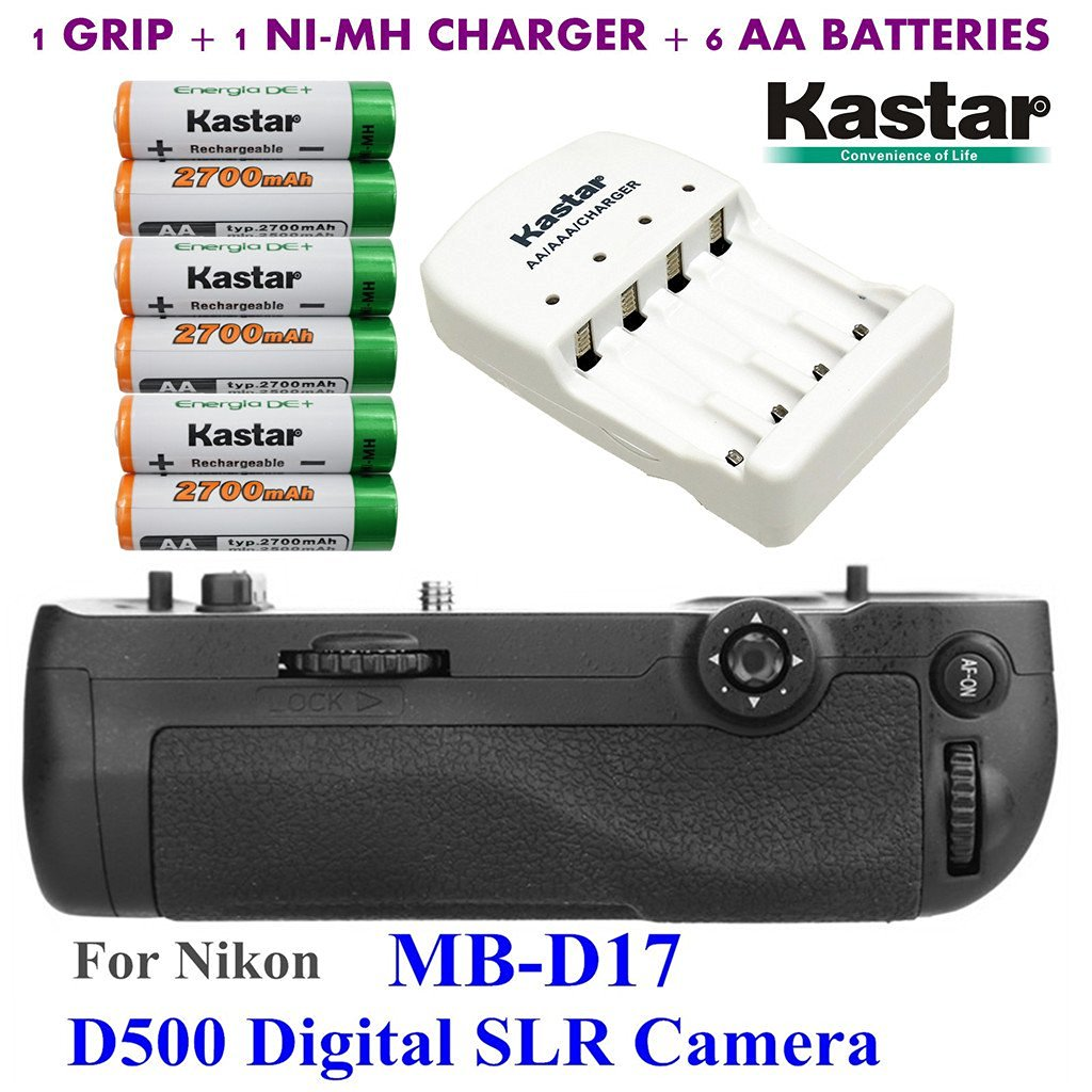 Kastar Pro Multi-Power Vertical Battery Grip (Replacement for MB-D17) + 6x AA NI-MH Batteries(2700mAh) + NI-MH Charger for Nikon D500 Digital SLR Camera