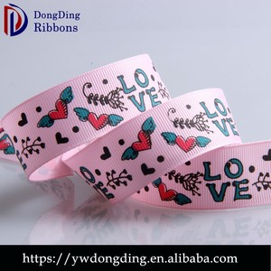 Valentine day ribbon wholesale 3.0cm colorful printed stripe grosgrain ribbon