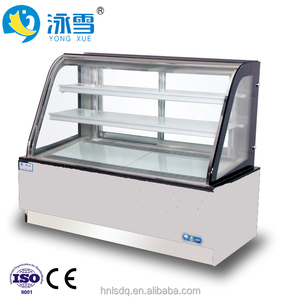 High Quality Large Curved Double Back Sliding Glass Door Used Cake Display Chocolate Refrigerator For sale