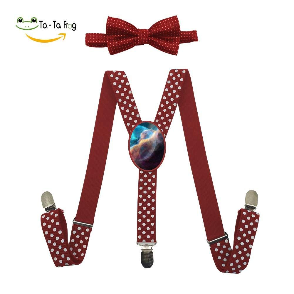 Xiacai The Universe Planet Suspender/&Bow Tie Set Adjustable Clip-On Y-Suspender Kids