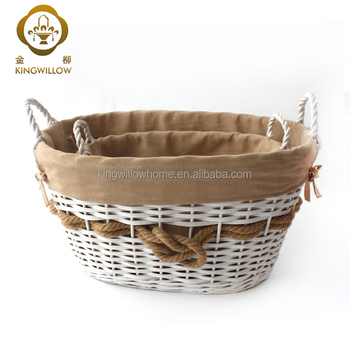 Hot selling wicker laundry basket with handles