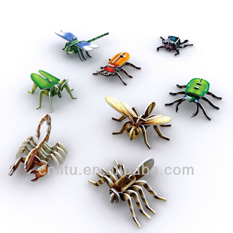 mini insect puzzle 3D Animal Puzzle colorful print foam and paper toy
