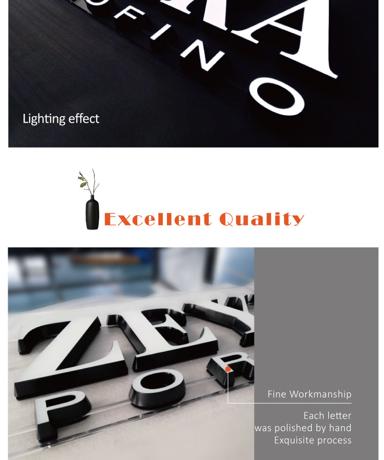 Professional Acrylic LED signs face light led letters shop billboard for advertising