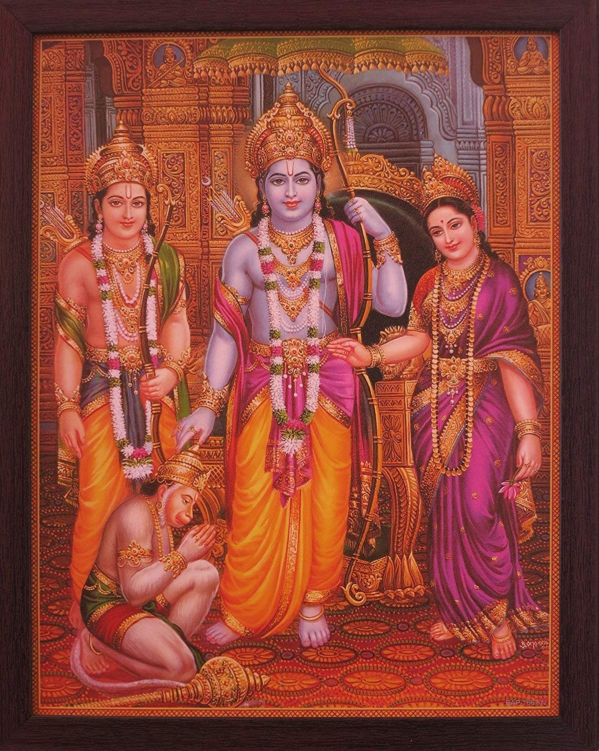 Lord Hanuman Sitting in Ram Darbar and Showing is Dedication Towards His Family, a Holy Religious Poster Painting with Frame for Hindu Religiousd and Gift Purpose