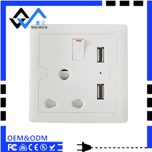 10A 250V Good quality South Africa wall socket with 2 USB