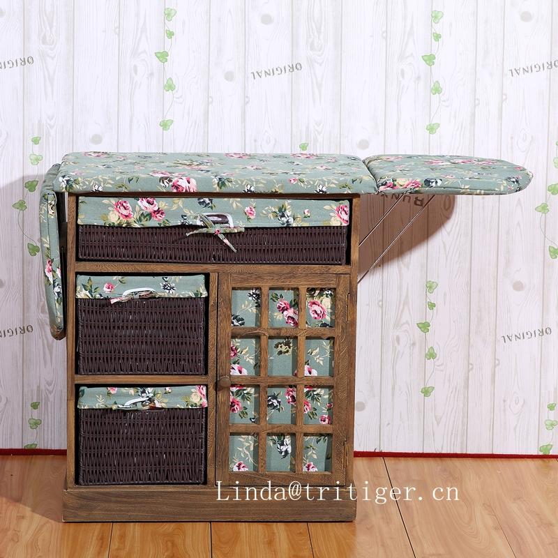 Corner Housewares Collapsible Ironing Board Wood Cabinet with Storage Boxes basket drawer