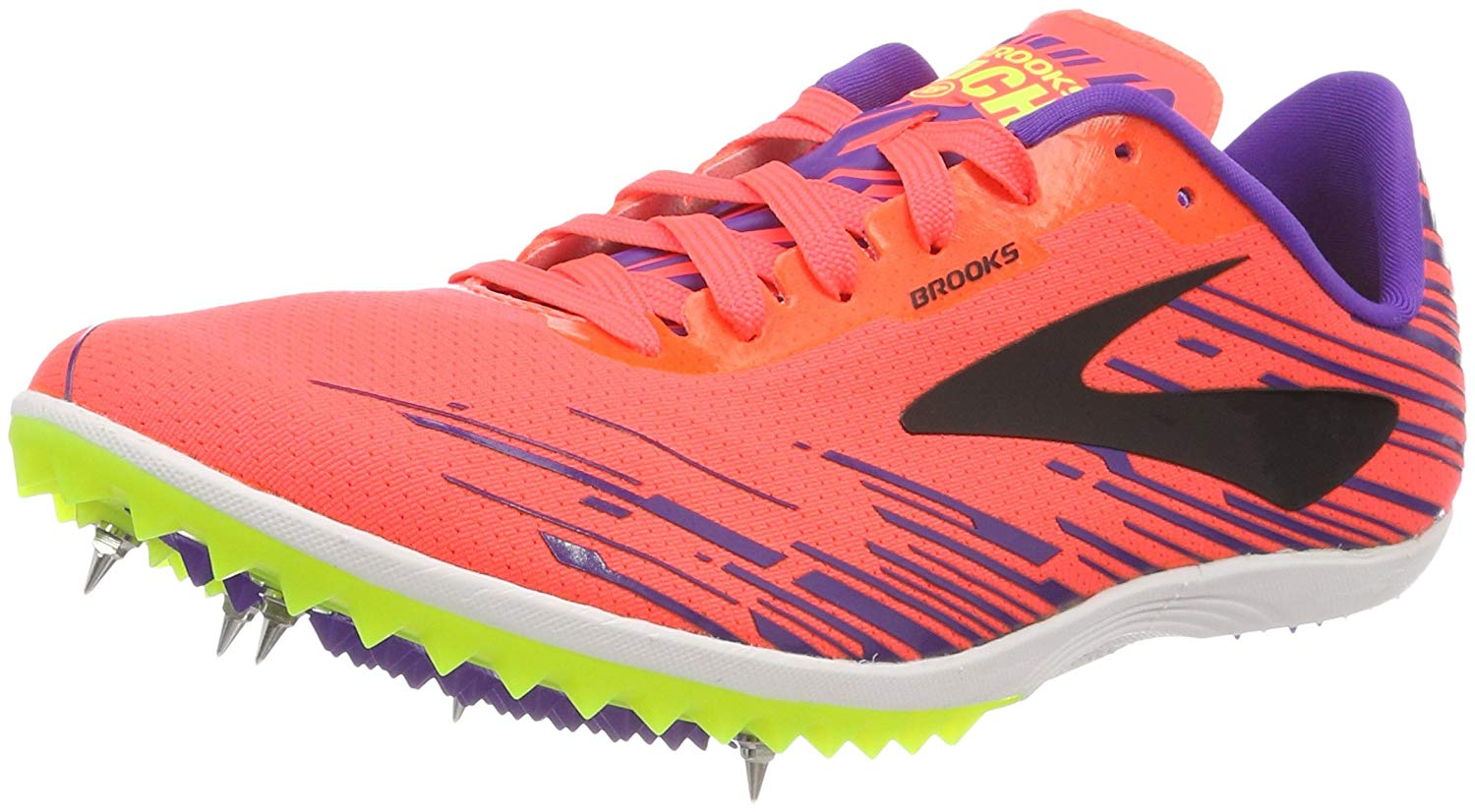91f4d457cbe97 Get Quotations · Brooks Mach 18 Women s Cross Country Spikes Fiery  Coral Electric Purple Black Size 9